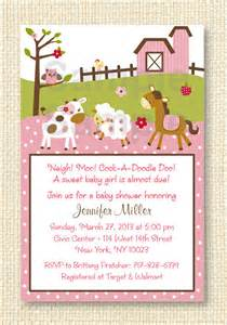 pink farm animal baby shower invitation by littleprintsparties