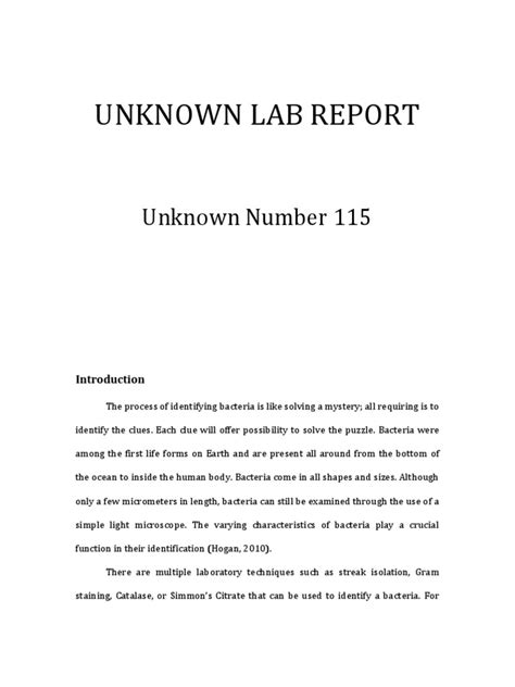 sle unknown lab report microbiology unknown lab report growth medium bacteria