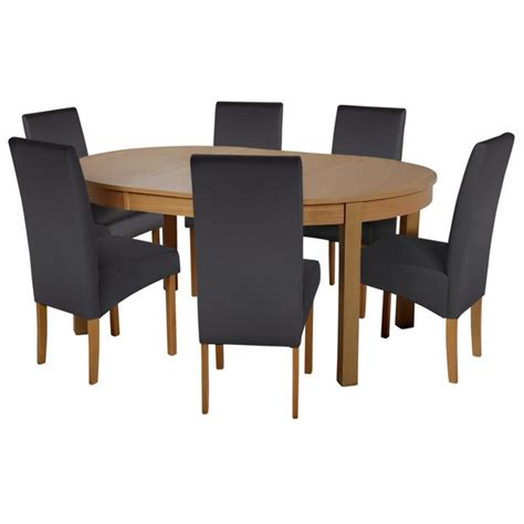 buy dining room furniture buy collection massey dining table 6 chairs wood effect black at argos co uk your