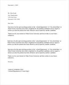 Rejection Letter Template For Applicants by Sle Applicant Rejection Letter 6 Documents In Pdf Word