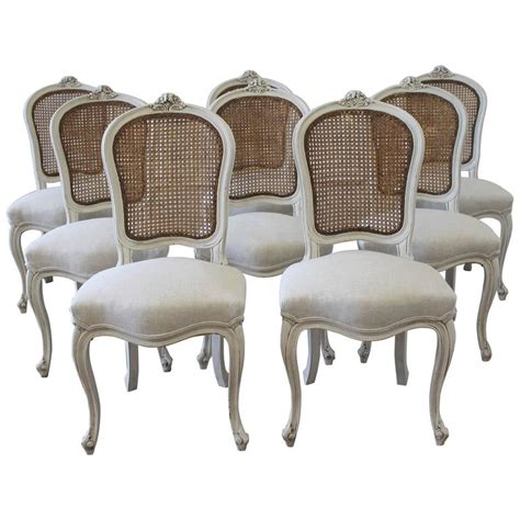 Painted Dining Chairs Set Of Eight Vintage Painted Back Dining Chairs At 1stdibs