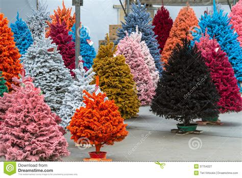 flocked christmas trees stock image image of small pink