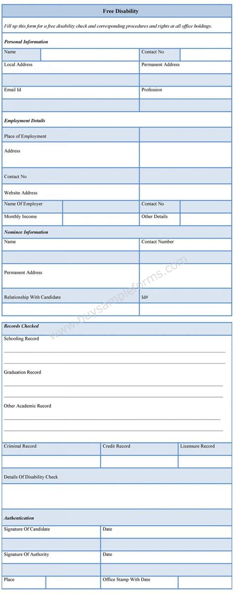 disability form free disability form printable disability forms