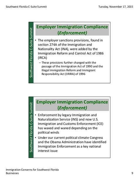section 274a of the immigration and nationality act immigration concerns for swfl businesses