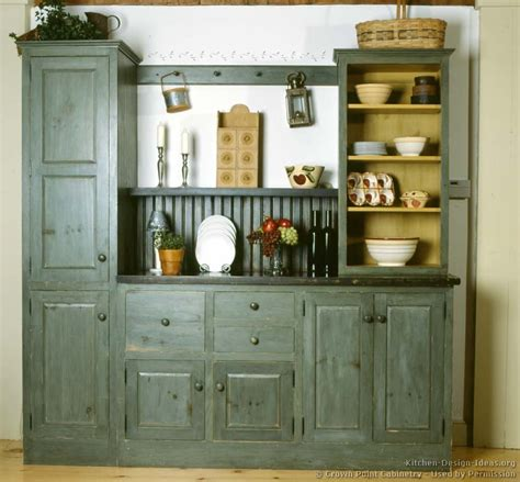 Blue Kitchen Hutch a rustic country kitchen in the early american style