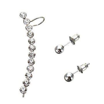 Silver Plated Rhinestone Stud Earrings 1pcs stud earrings wholesale newchic