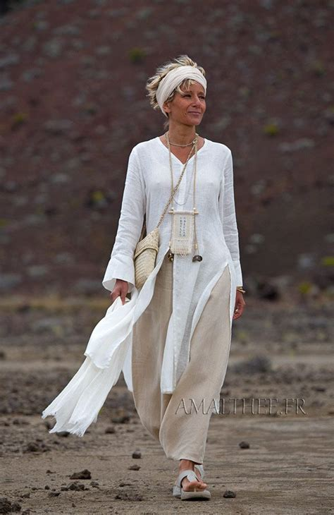 Comfy Linen Celana Tm523 white linen side slit summer tunic with sleeves and sarouel skirt linen clothes