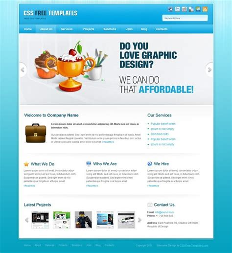 Free Portfolio Website Css Template In Blue Color Scheme Website Css Templates Free Css Website Templates