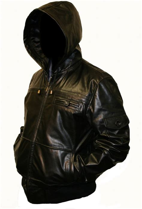 Black Hoodie Jacket mens hooded black leather jacket jackets