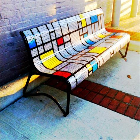 park bench art art deco park bench in downtown bryan tx 161 vamanos