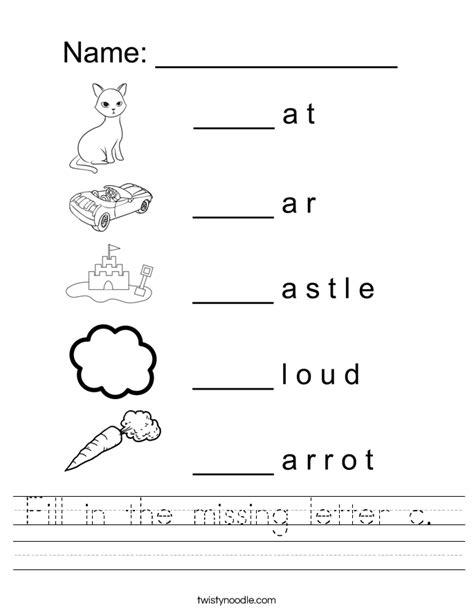printable worksheets letter c fill in the missing letter c worksheet twisty noodle