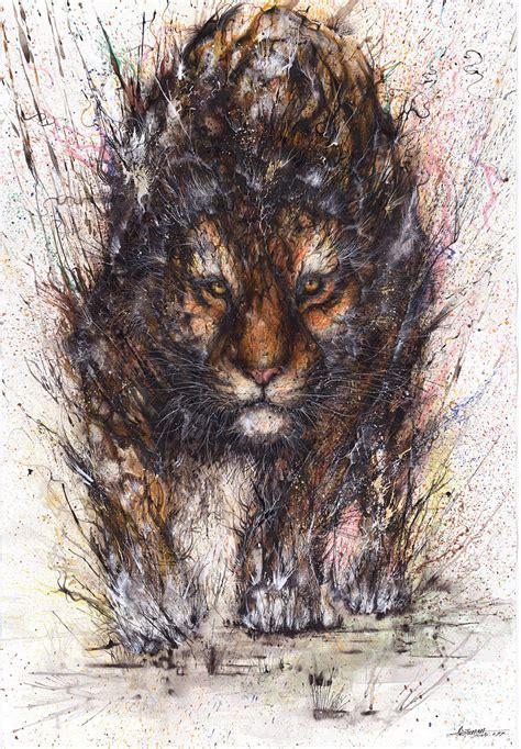splattered ink animal paintings  chinese artist hua tunan