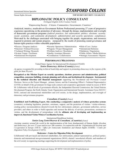 Cover Letter Political Consulting by Diplomatic Policy Consultant Resume