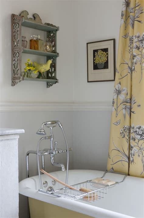 grey yellow bathroom gray and yellow curtains cottage bathroom sarah