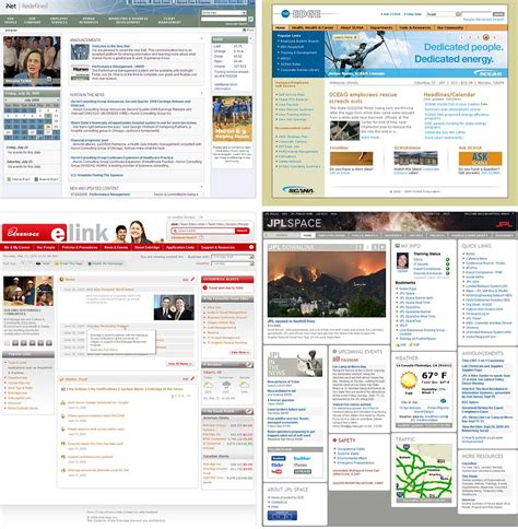 Homepages Of 4 Intranet Design Annual Winners Top Row Huron Consulting Group And Enbridge Intranet Page Template