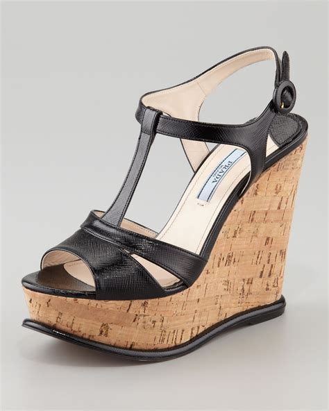 cork wedge sandal prada tstrap cork wedge sandal in black lyst