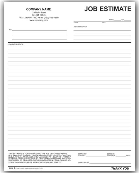 printable estimate template ricdesign