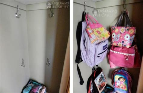 ideas for hanging backpacks how to organize the coat closet a bowl full of lemons