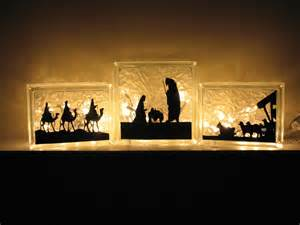 lights nativity nativity vinyl for 3 set glass block