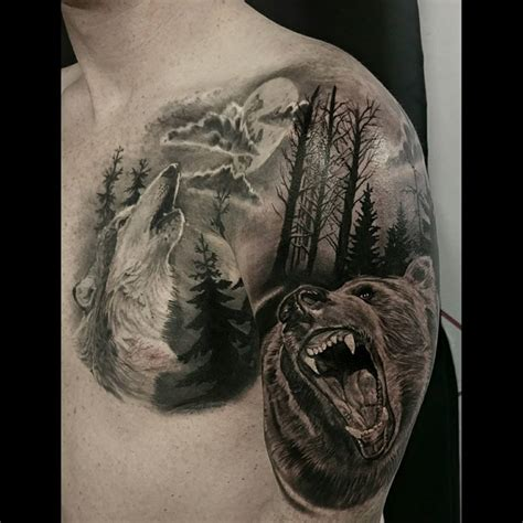 realistic wolf tattoo realistic nature freedom wolf tree forest