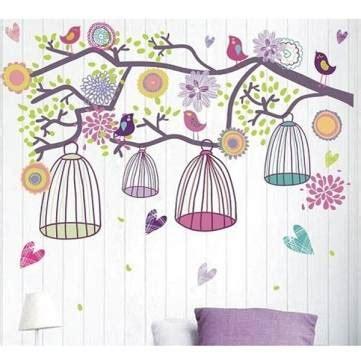 Hk Accesories Hk 011 Stiker Dinding Wall Sticker Murah 1 colorful birdcage bohemia morning wall sticker sofa