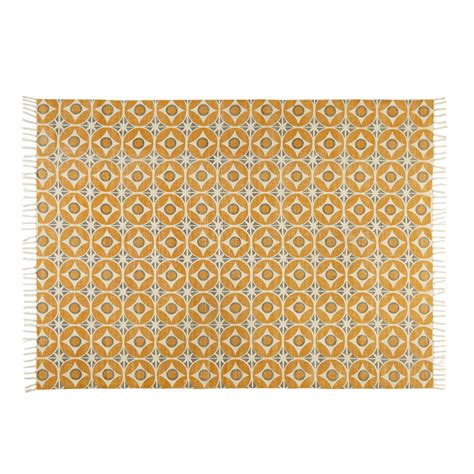 teppich aus senfgelber baumwolle 140x200cm blocalia