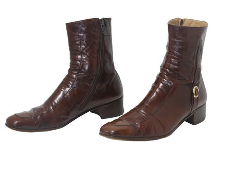 Winter Vintage Boot With Belt mens leather boots with zippers tsaa heel