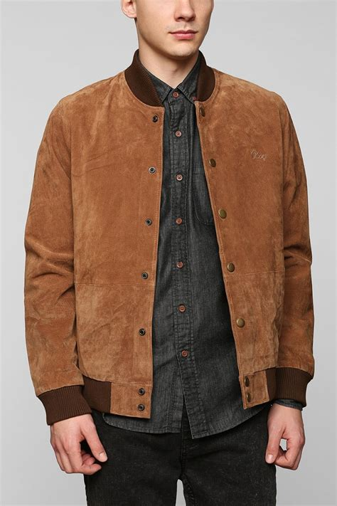 Jaket Parka Brown obey suede vacation jacket in brown for lyst