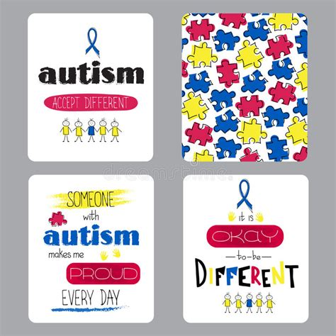 autism id card template autism awareness set of cards stock vector image 68960757
