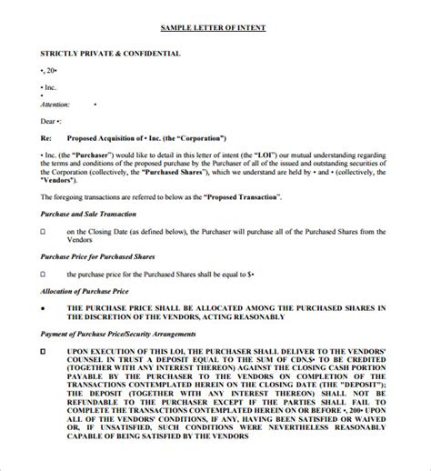 Letter Of Intent Format For Purchase Purchase Letter Of Intent 10 Free Word Pdf Format