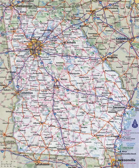 map of georgia cities cities in georgia usa image gallery large map of georgia