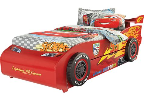 mcqueen car bed disney cars lightning mcqueen red 6 pc twin bed with spoiler and trundle beds colors