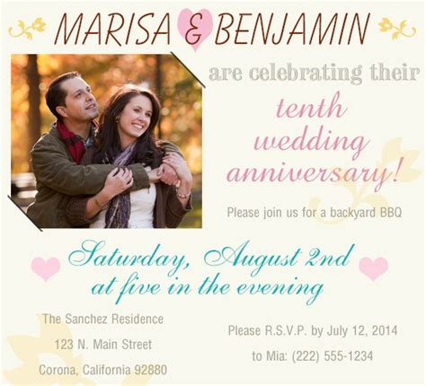 10th wedding anniversary invitation wording amazing ideas for celebrating your 10th wedding