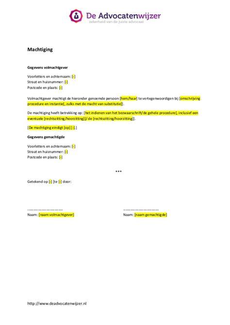 opstellen brief beeindigen contract machtiging de advocatenwijzer