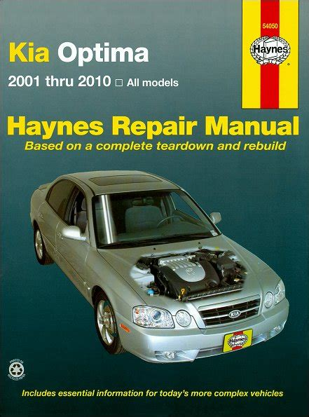 kia optima repair manual 2001 2010 shop manual