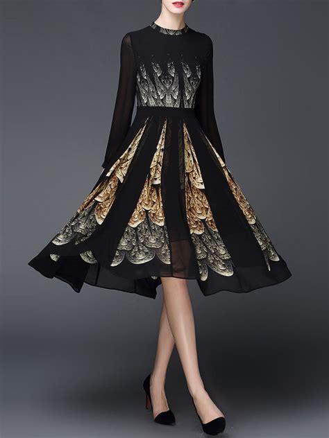 sleeve simple printed a line floral midi dress