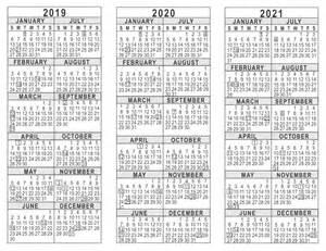 5 Year Calendar Template by 2019 2020 2021 3 Year Calendar