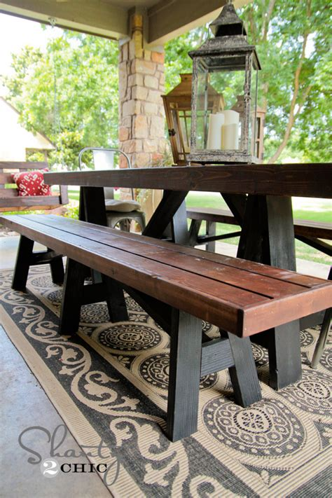 diy bench  dining table shanty  chic