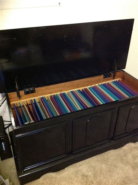 an chest turned into a filing cabinet took