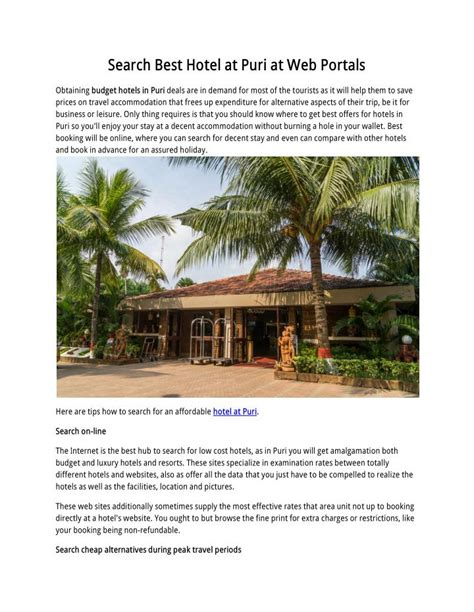 best web portals ppt search best hotel at puri at web portals powerpoint