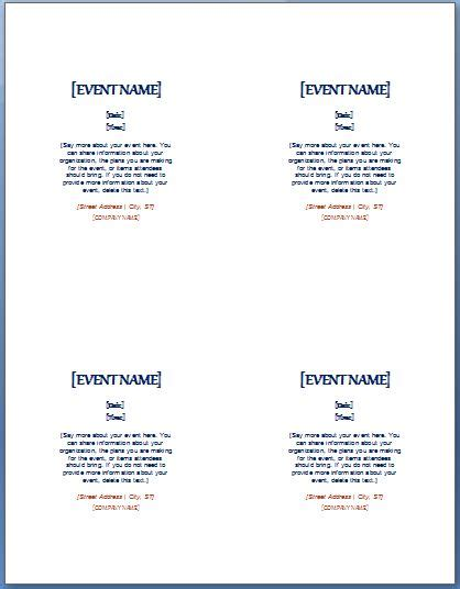 microsoft word template 4 cards to a page event invitation template 4 per page formal word templates