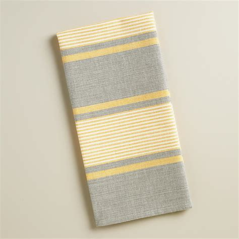 gray and yellow striped loire kitchen towels set of 2 - Yellow And Gray Kitchen Towels