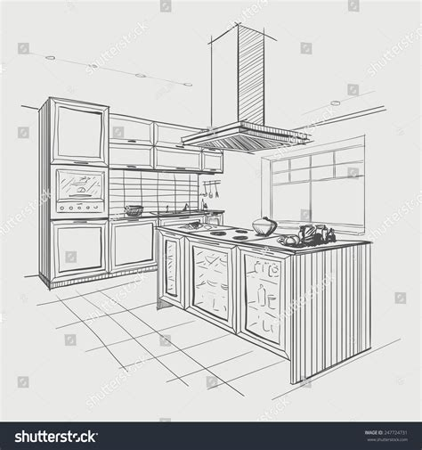 sketch drawing of a kitchen with island google search interior sketch of modern kitchen with island stock