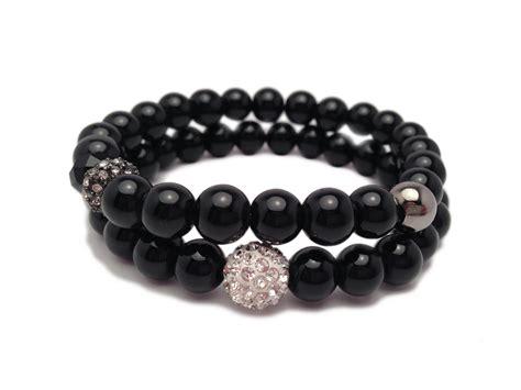 Glass Pearl Bracelets   Bracelet Set   Black Pearls   Rhinestone Bracelets   Soiree on Luulla