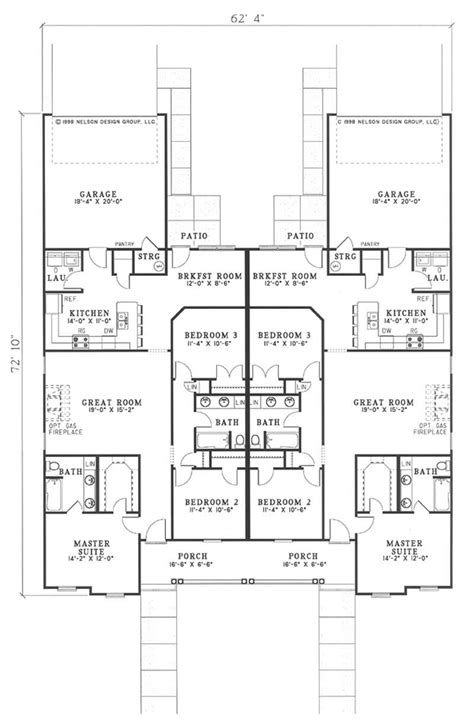 Multi Unit Home Plans by Multi Unit House Plan 153 1544 3 Bedrm 1513 Sq Ft Per
