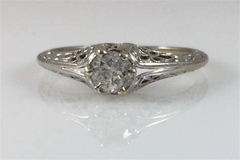 18k art deco filigree 25ct diamond engagement ring