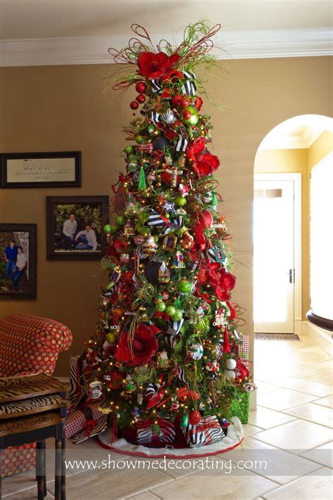 christmas tree with bright reds and greens are accented