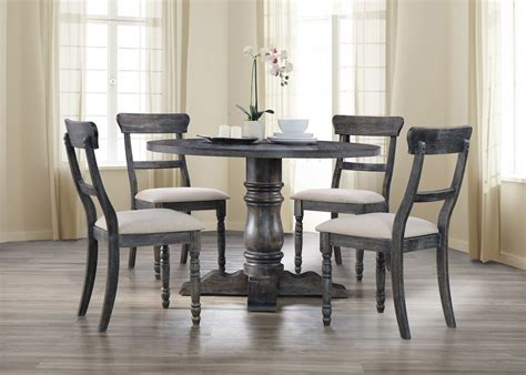 gray dining table set transitional style weathered grey finish 5pc