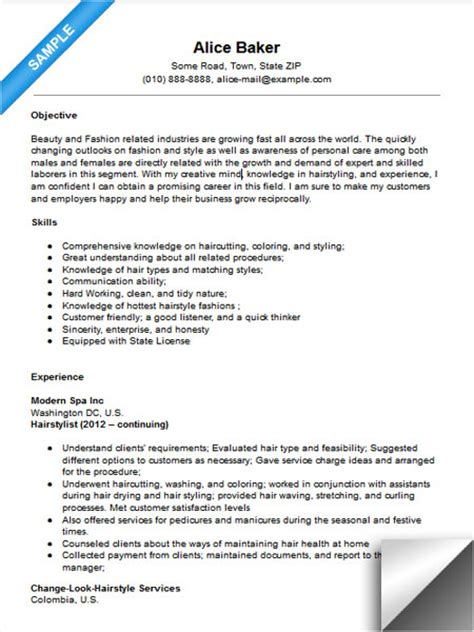 Resume For Hairstylist by Hair Stylist Resume Sle