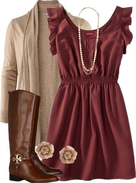 dress boots necklace cardigan red blouse outfit